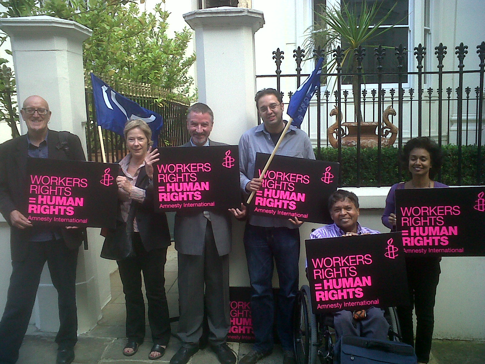 Amnesty supporters and trade unionists protest at Fiji High Commission in 2011.