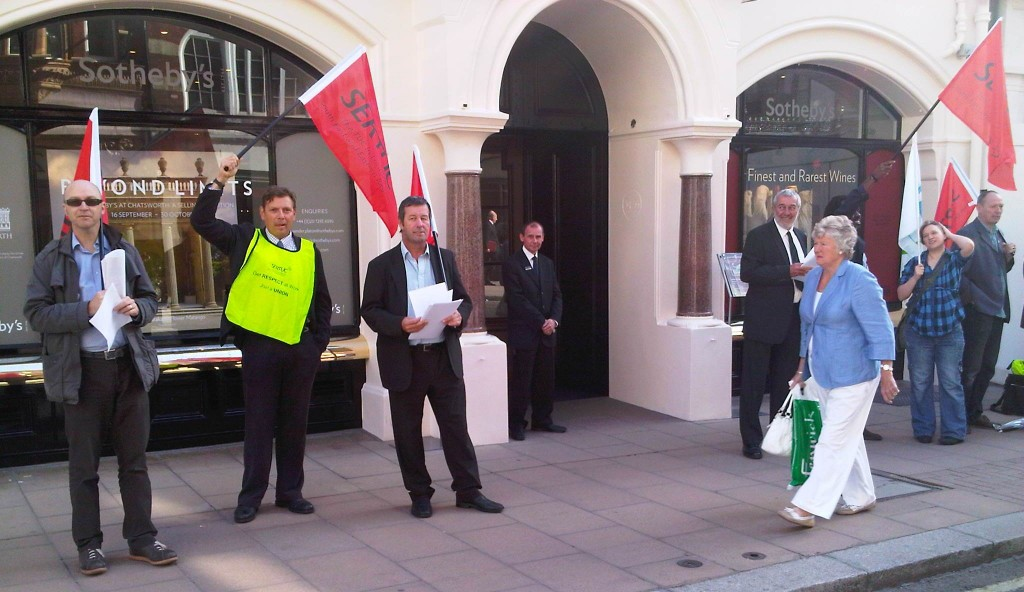 Protest at Sotheby's London