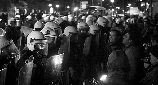Protestors and police in Athens, January 2012