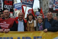 ETUC General Secretary Bernadette Segol and Belgian trade union leader Rudy de Leeuw join Frances O'Grady on the TUC March for a Future that Works