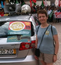 USDAW's Fiona Wilson joins the protest in Funchal, Madeira