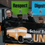 School bus workers united protest