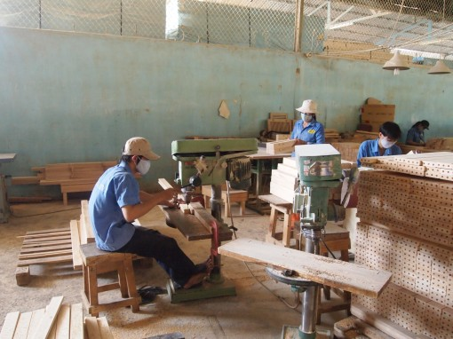Workers in a furniture factory in Vietnam