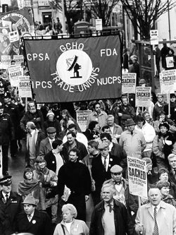 Union members march in Cheltenham in 1989 during an annual protest at removal of union rights from government intelligence workers at GCHQ.