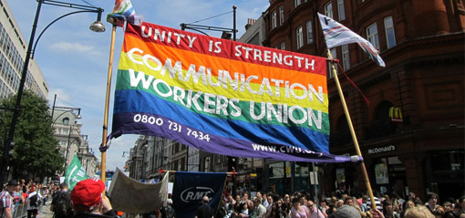 Union marchers at Pride 2013 in London