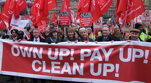 Day of Action against Blacklisting - photo of activists and union representatives outside parliament. Taken 20 Nov 2013.