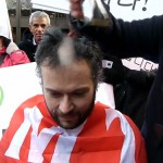 Karlson Lingwood shaves his head in solidarity with Korean rail workers