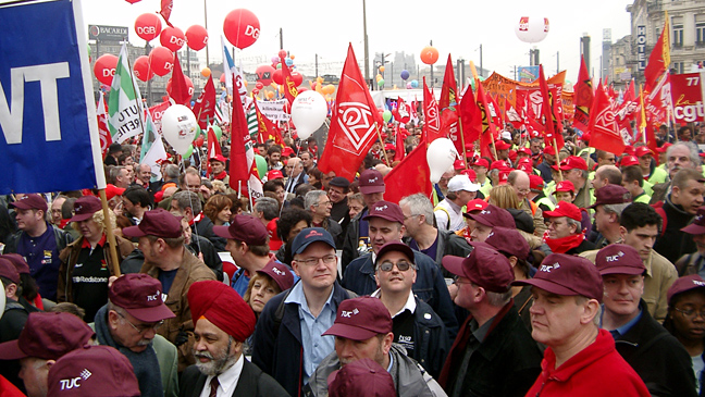 British trades unionists join an ETUC demo in Brussels in 2005.