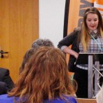 Photo of Bryony addressing the Welsh Assembly to talk about the lack of decent jobs for young people. The event was organised as part of Fair Pay Fortnight.