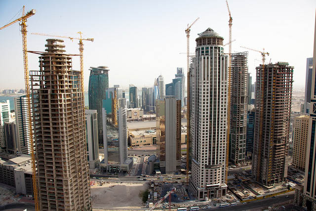 Buildings under construction in Qatar