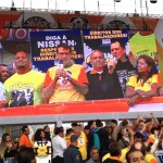UAW President Bob King and Mississippi Nissan worker Morris Mock speaking about Nissan's alleged labour rights violations before a crowd of 1.3 million at Brazil's May Day event, the largest in the world. (Photo courtesy of the UAW)