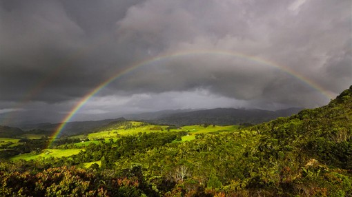 Rainbow over Guatavita, Colombia