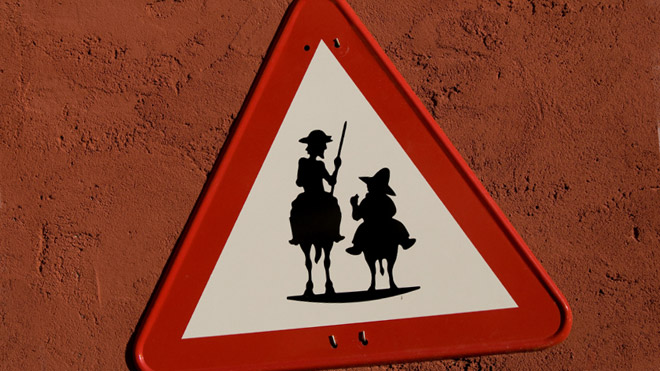 Don Quixote and Sancho Panza road traffic sign