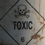 toxic warning on a drum of chemicals