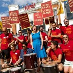 Photo of cinema workers striking outside Ritzy Picture House in Brixton in June 2014., with TUC General Secretary Frances O'Grady with them on the picket line