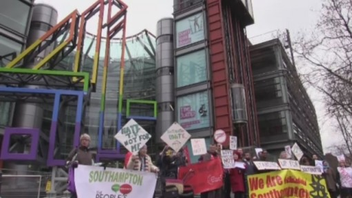 Southampton residents protesting outside Channel 4