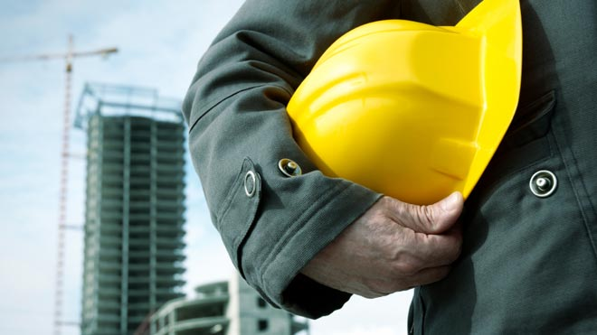 hardhat worker on construction site
