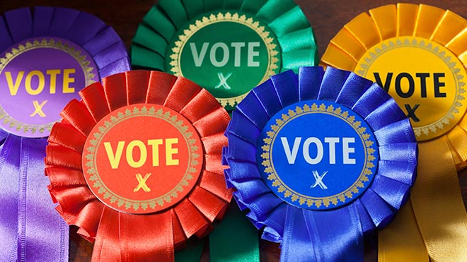 UK election rosettes