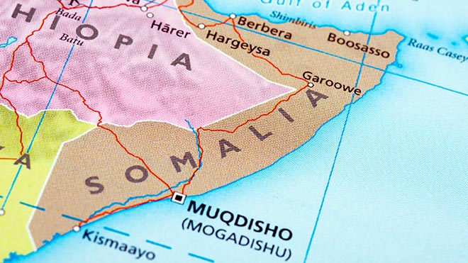 Somalia on map