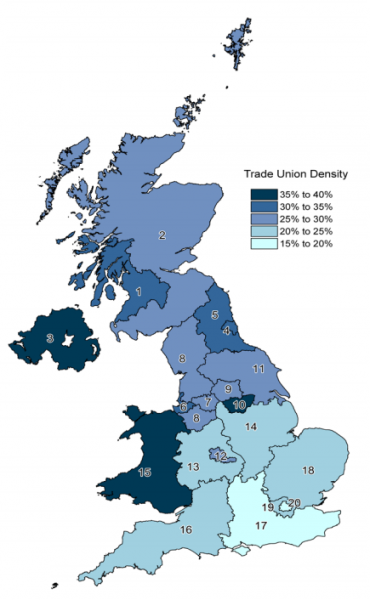 Trade union density. ONS 2015