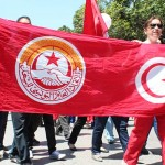 UGTT banner in May Day march 2012