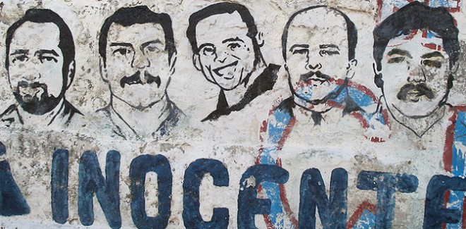 A campaign mural calls for the release of the Cuban Five (since freed)