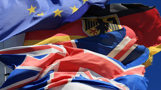 German, UK, EU flags