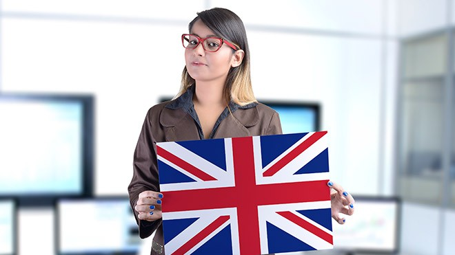 female office worker with union flag