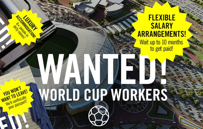 "Amnesty's hard hitting campaign graphics ironically offer ""flexible pay arrangements"" for World Cup Workers."