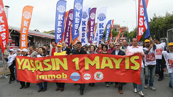 Turkish unions march for May Day 2106