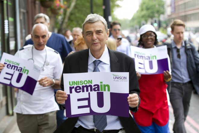 Dave Prentis, Unison General Secretary and health workers with Unison Vote Remain, Don't Risk Our NHS banner. Unison HQ, Euston, London.  Unison press images: © Jess Hurd
