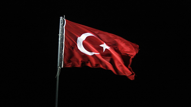 Turkish flag at night