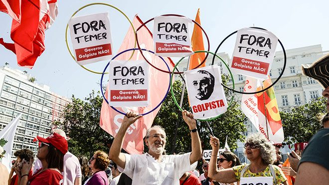 Brazilian unions join a protest against the coup, August 5