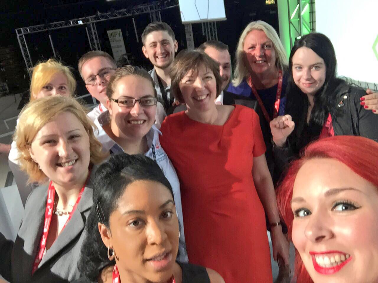 Frances O'Grady with young workers