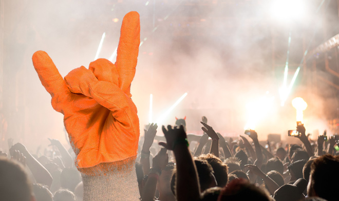 Safety glove at a rock gig