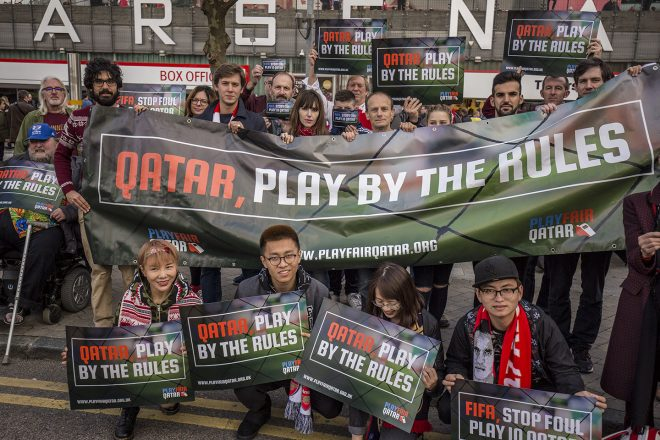 Arsenal fans demand better treatment of workers in Qatar