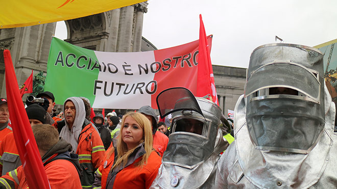 Steelworkers on the Brussels demonstration