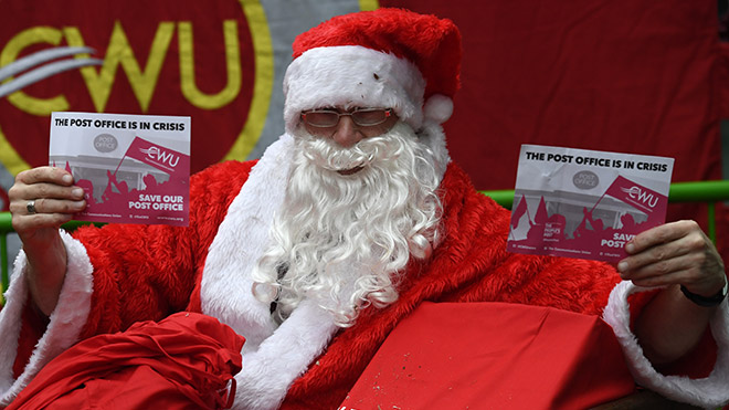 Santa joins a CWU demonstration