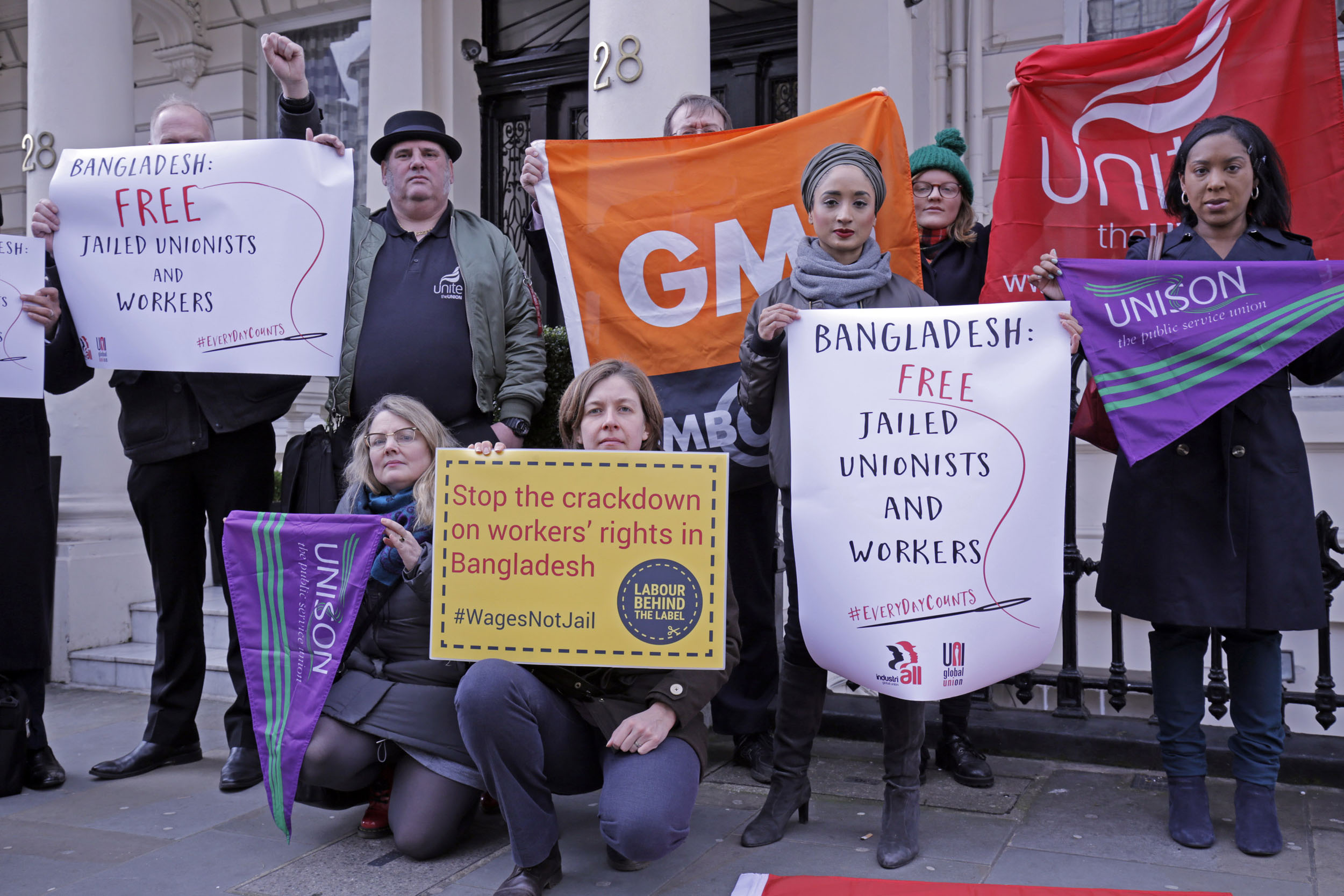 Unite, UNISON and GMB members are joined by Labour Behind the Label at the Bangladesh High Commission